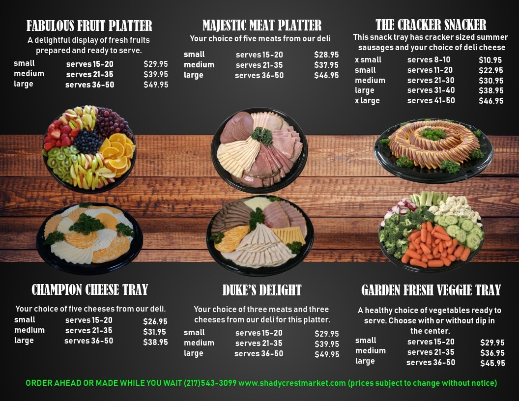 deli meat and cheese platters